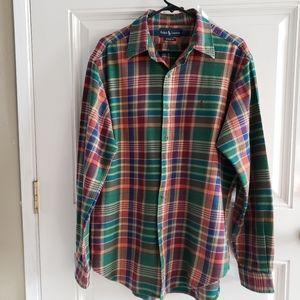 RALPH LAUREN Classic Fit Plaid Mens Western Shirt